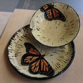 high school ceramics, plates with butterflies