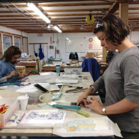 The studio for fused and stained glass workshops.