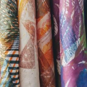 Kathy Klompas, Monotype on Silk, Fibers